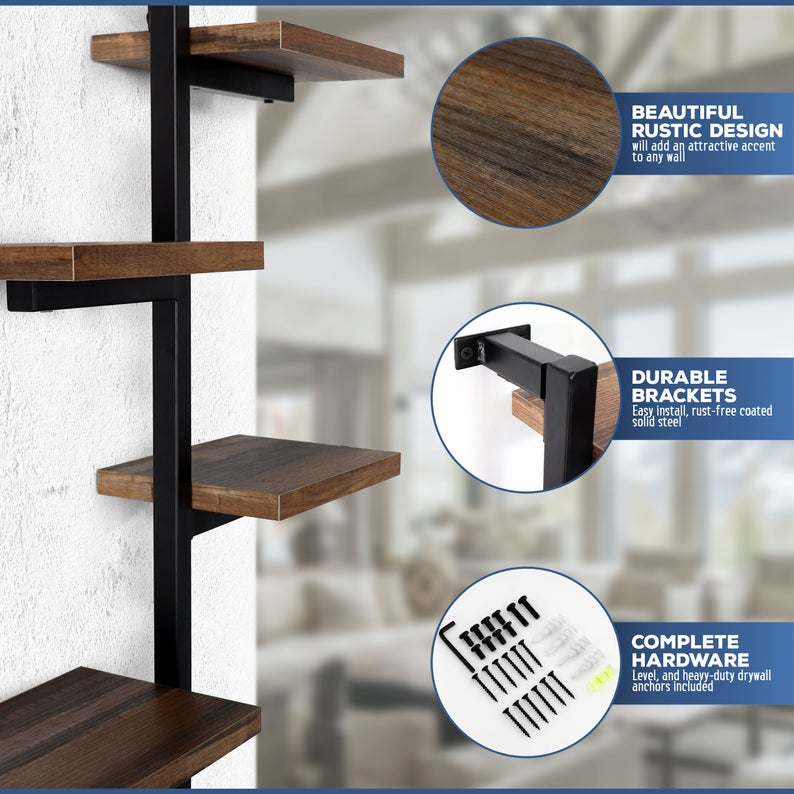 4-Tier Metal & Wood Floating Wall Shelf