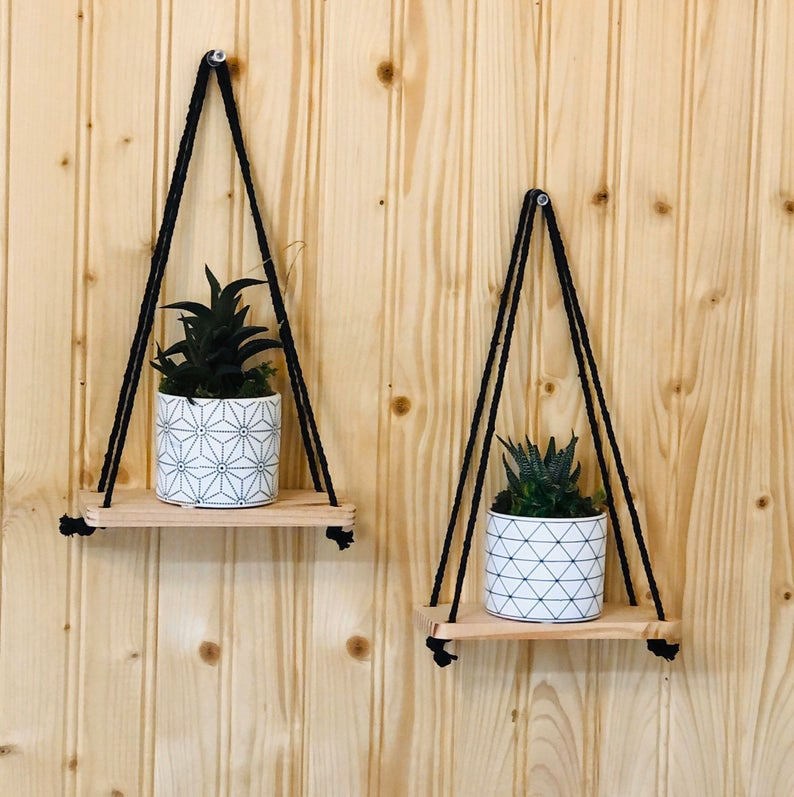 Set of 2 Small Hanging Floating Wall Shelf