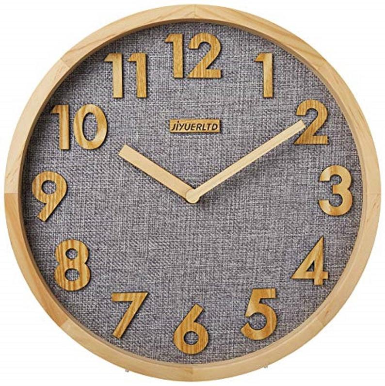 Modern Wood & Linen Wall Clock, 12""