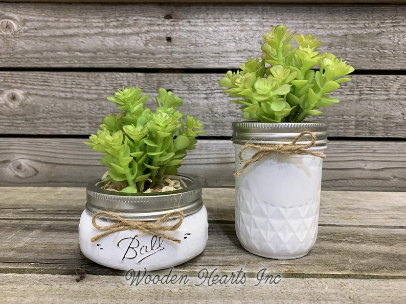 Succulent Plant in Pot Mason Jar Half Pint or Quilted Farmhouse Decor Distressed Ball Jar