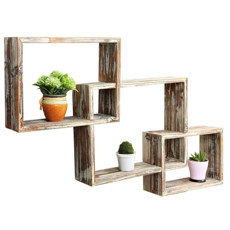 3-Tiered Rustic Wooden Floating Wall Shelf Set