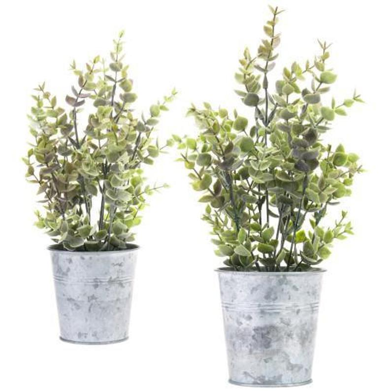 Artificial Lavender Plants in Silver Metal Pots, Set of 2
