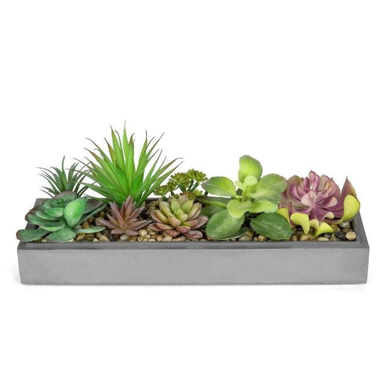 Faux Plant Arrangement in Modern Gray Clay Planter Tray