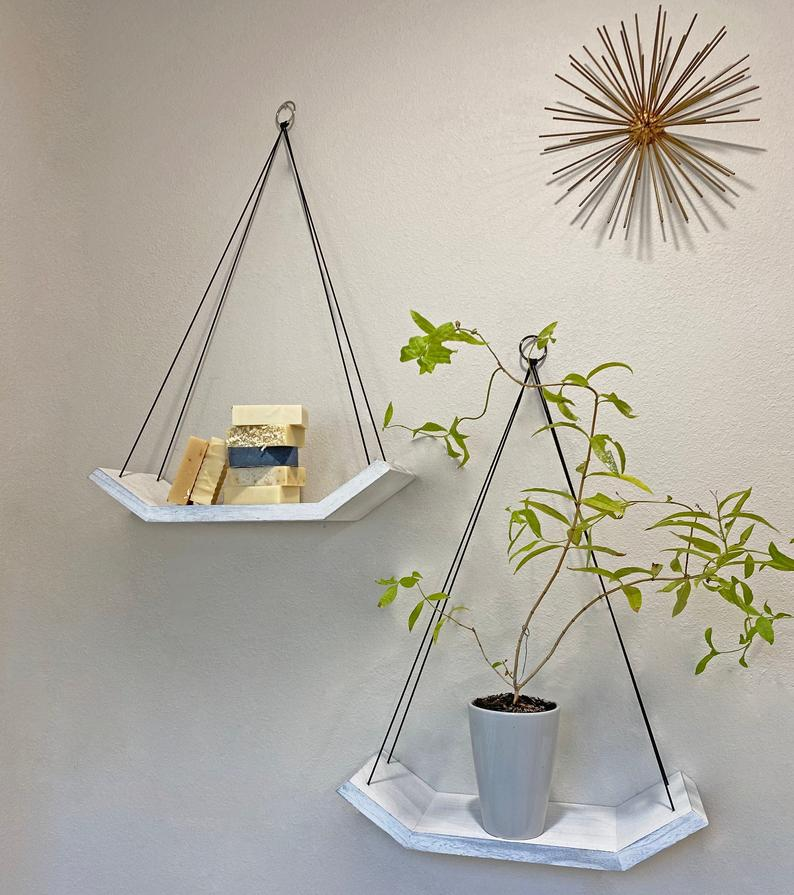 Set of 2 White Wooden Floating Shelves