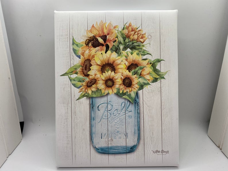 "Vintage Mason Jar On Barn Wood Mounted Canvas, 8"" X 10"""