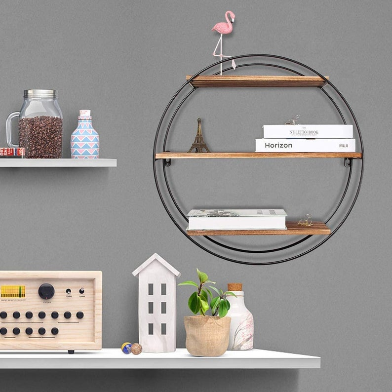 3-Tier Geometric Metal Floating Wall Shelves