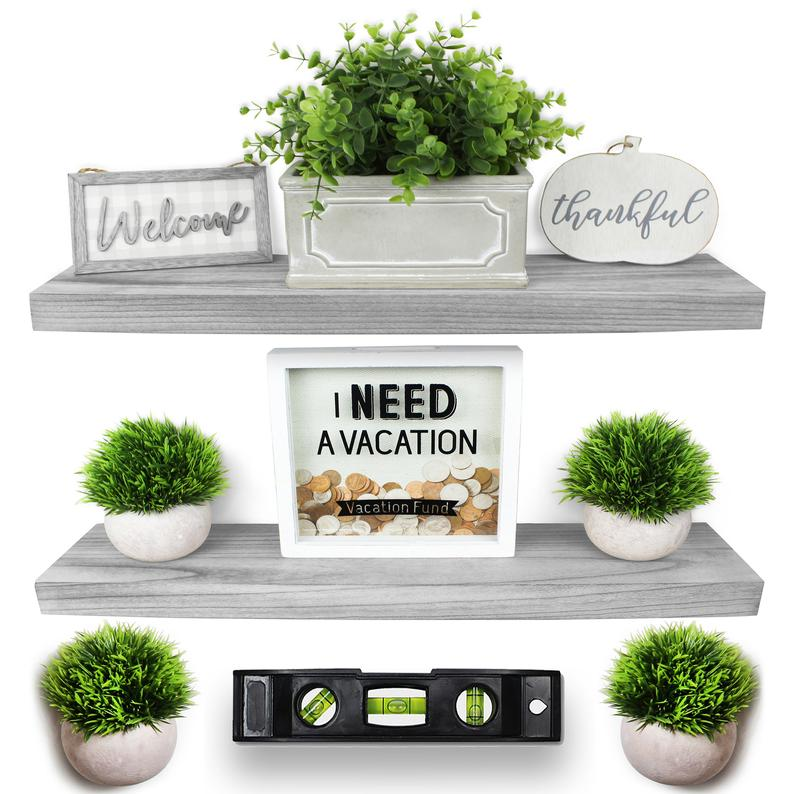 Set of 2 Grey Wood Floating Shelves, 24""