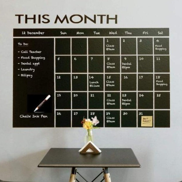 chalkboard calendar wall sticker