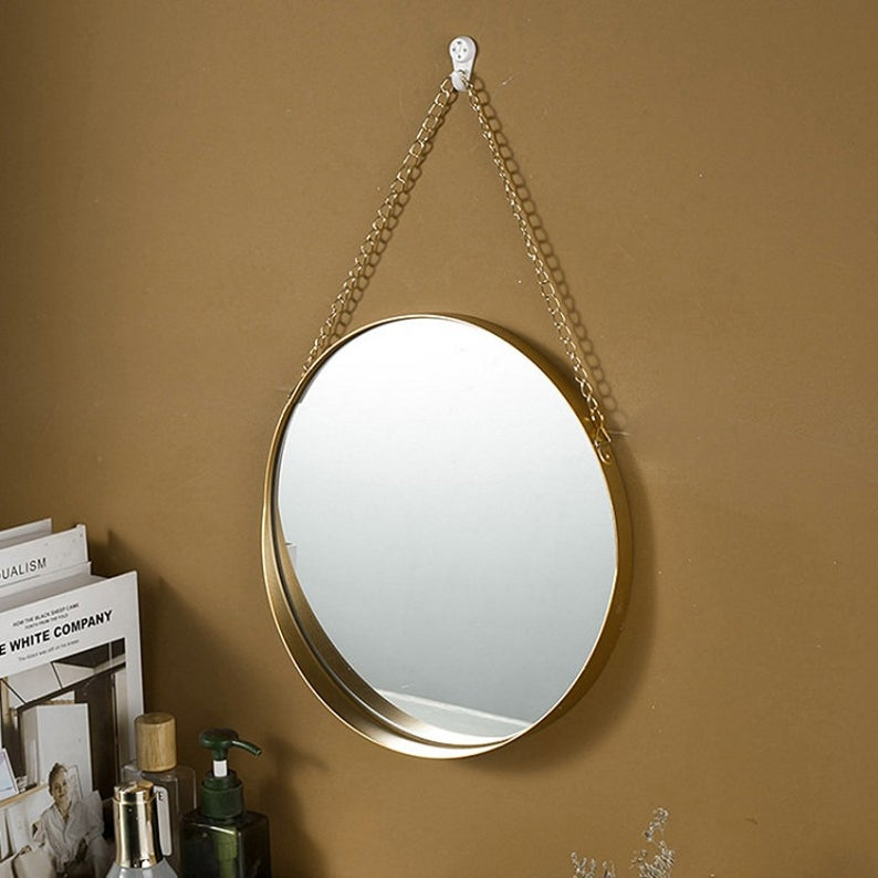 Nordic Style Round Chain Hanging Mirror, 15""