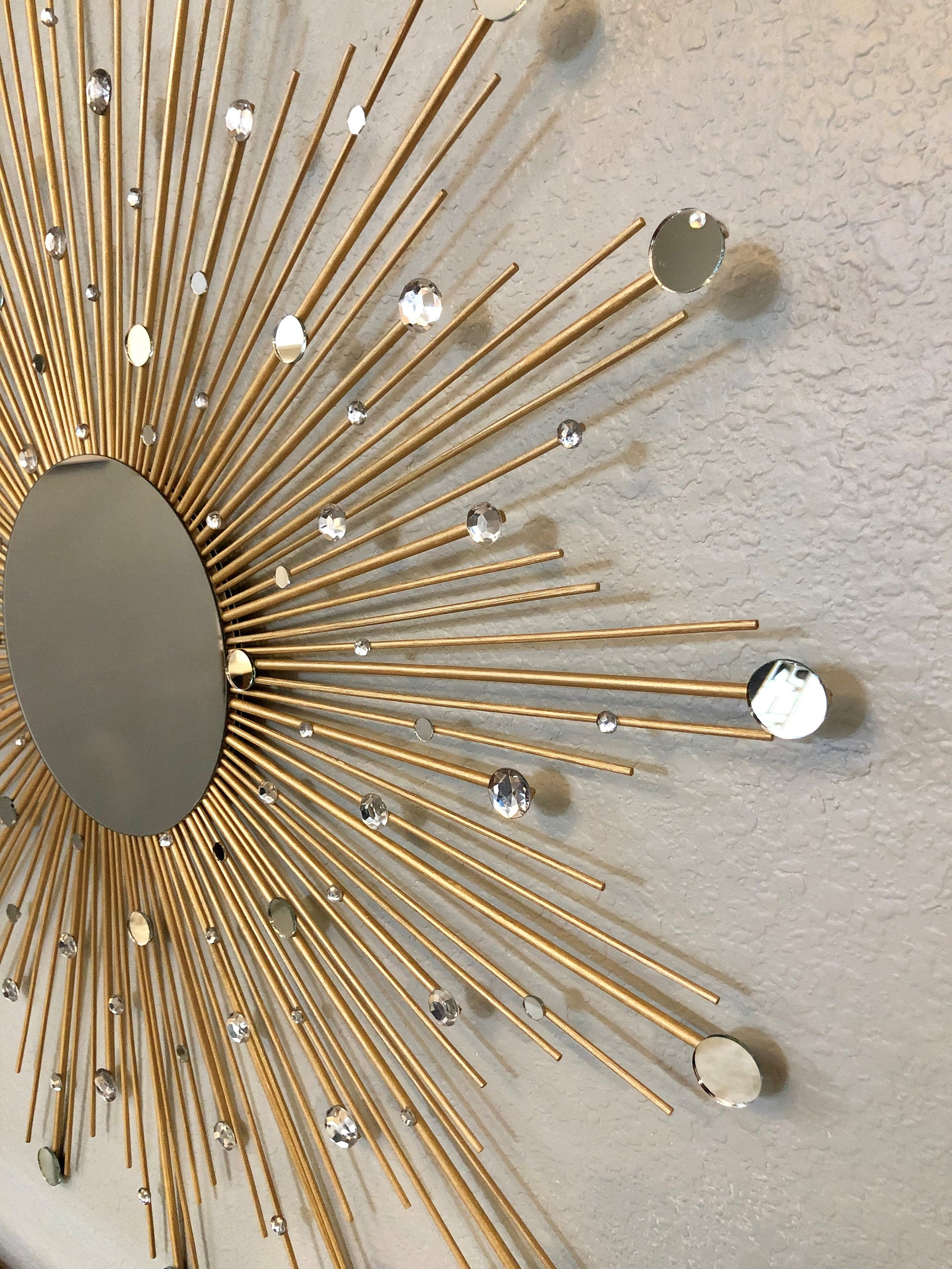 Elegant Gold Sunburst Hanging Wall Mirror,  30""