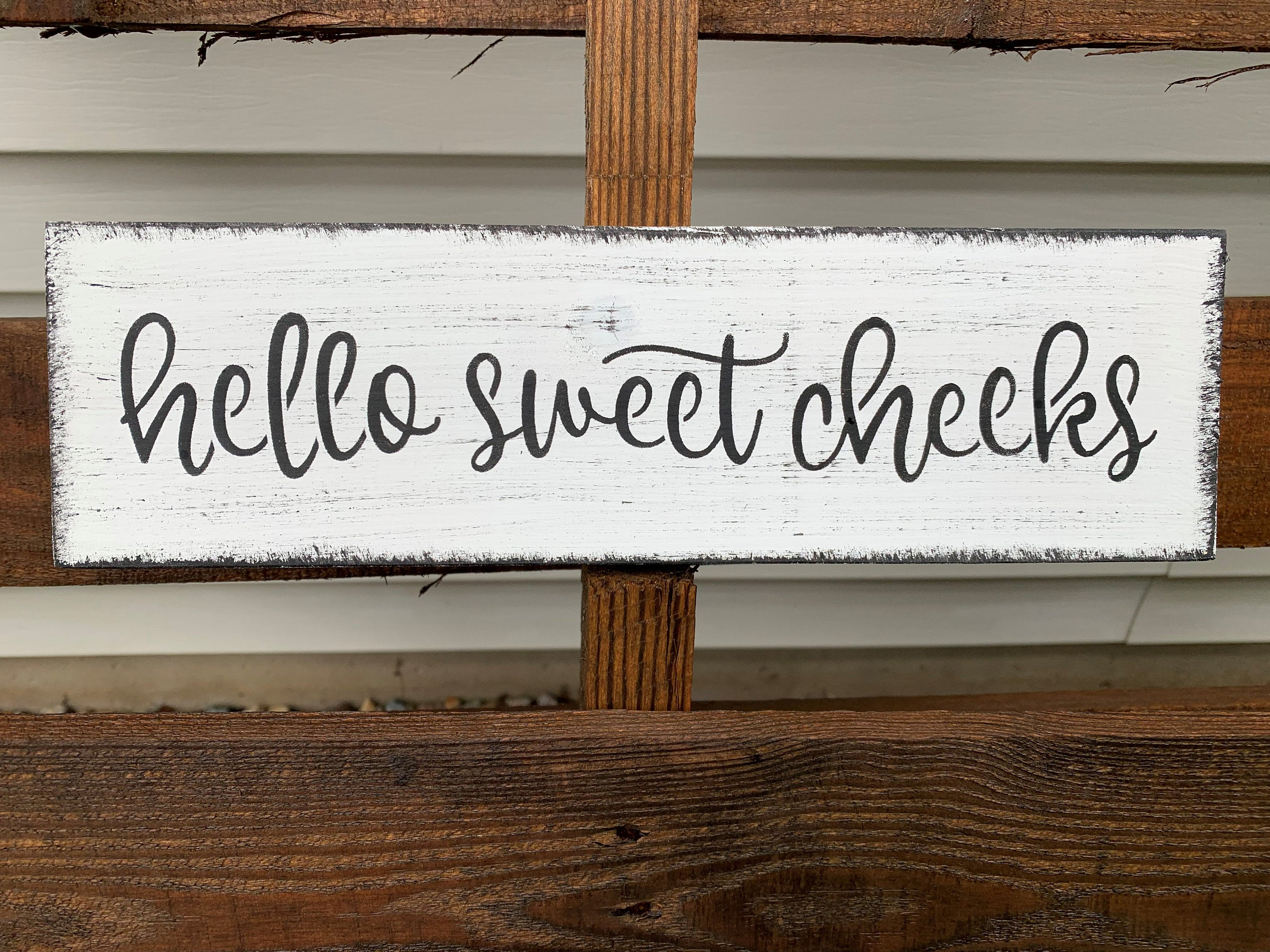 Hello Sweet Cheeks Bathroom Farmhouse Wood Sign, 12""