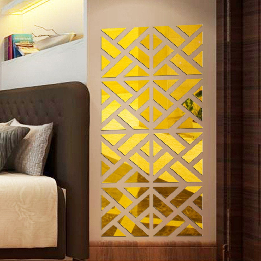 Geometric Pattern Wall Sticker Mirrors, 32 pcs