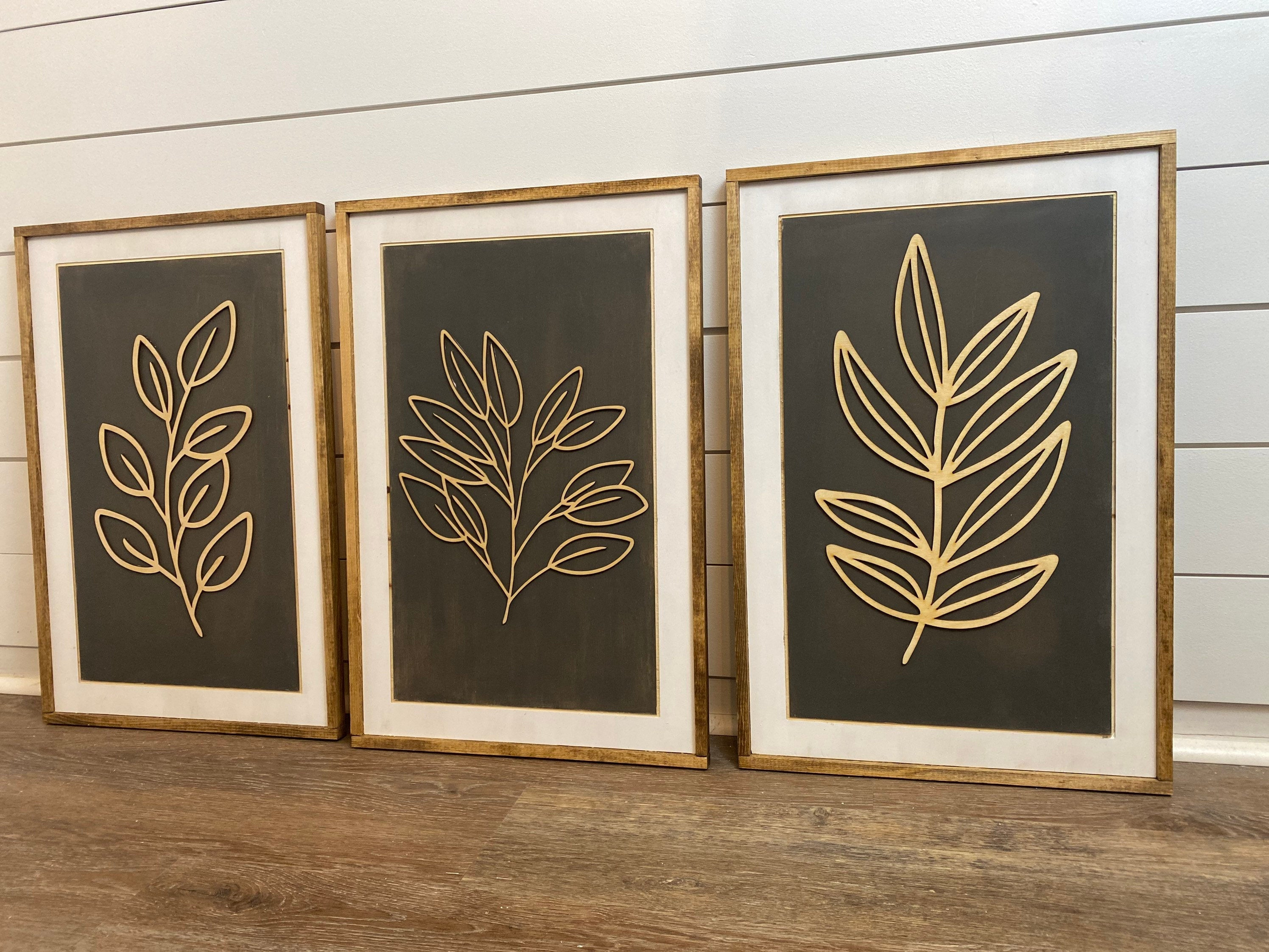 Set of 3 Wooden Leaf Wall Art , 24""