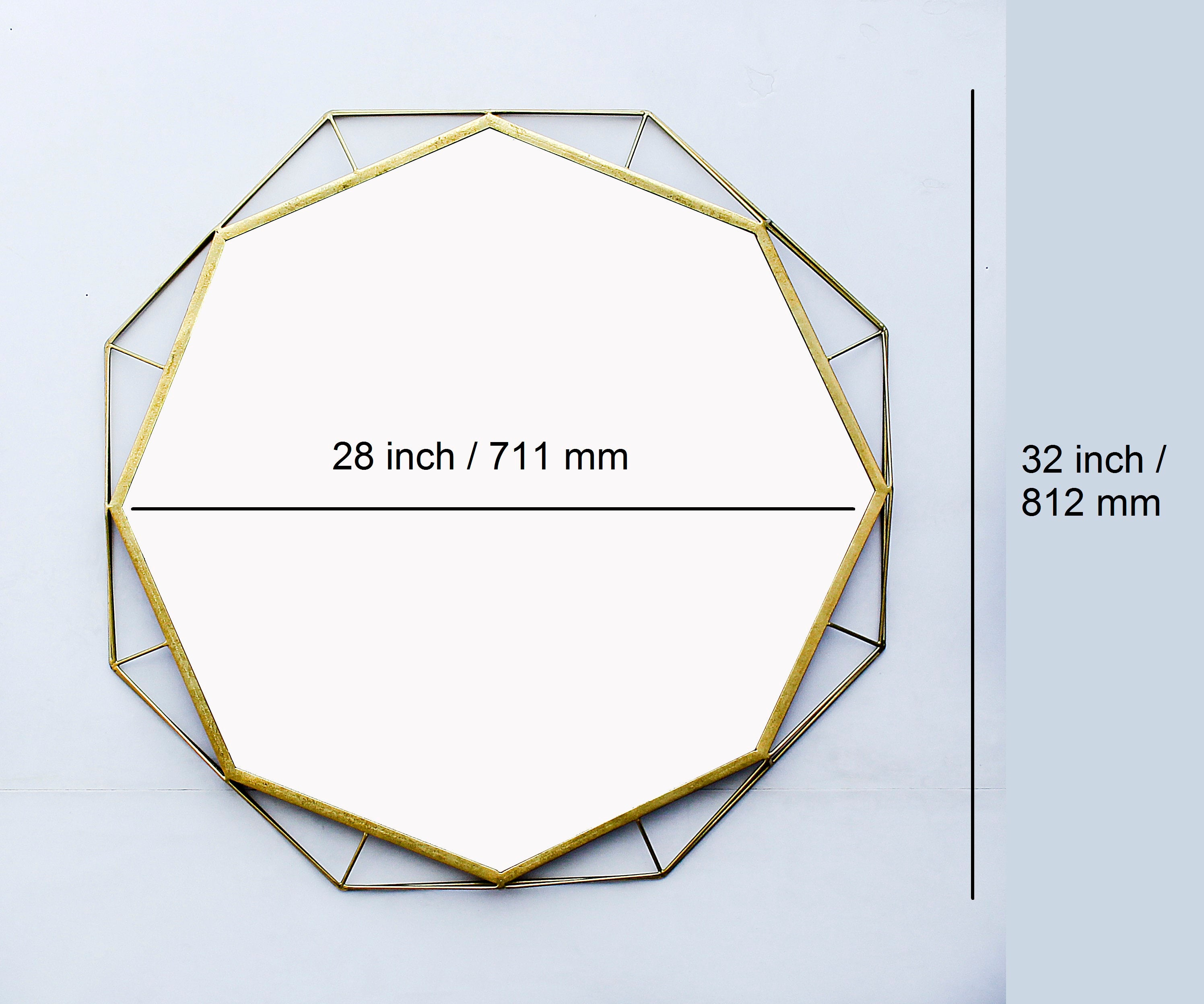 Gold Hexagon Metal Hanging Wall Mirror, 31""
