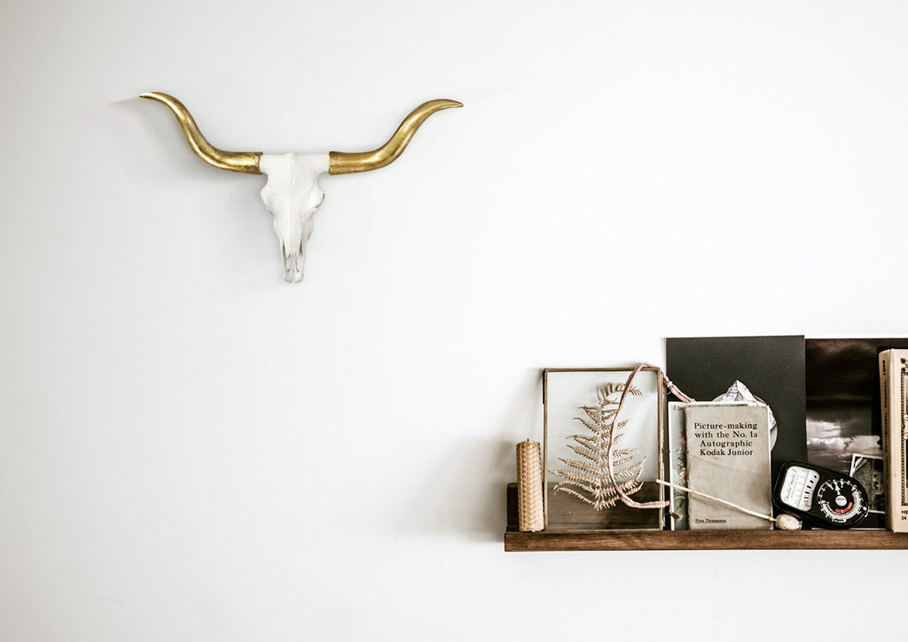 The Austin | Mini Longhorn Cow Skull | Faux Taxidermy | White  + Gold Longhorn Resin