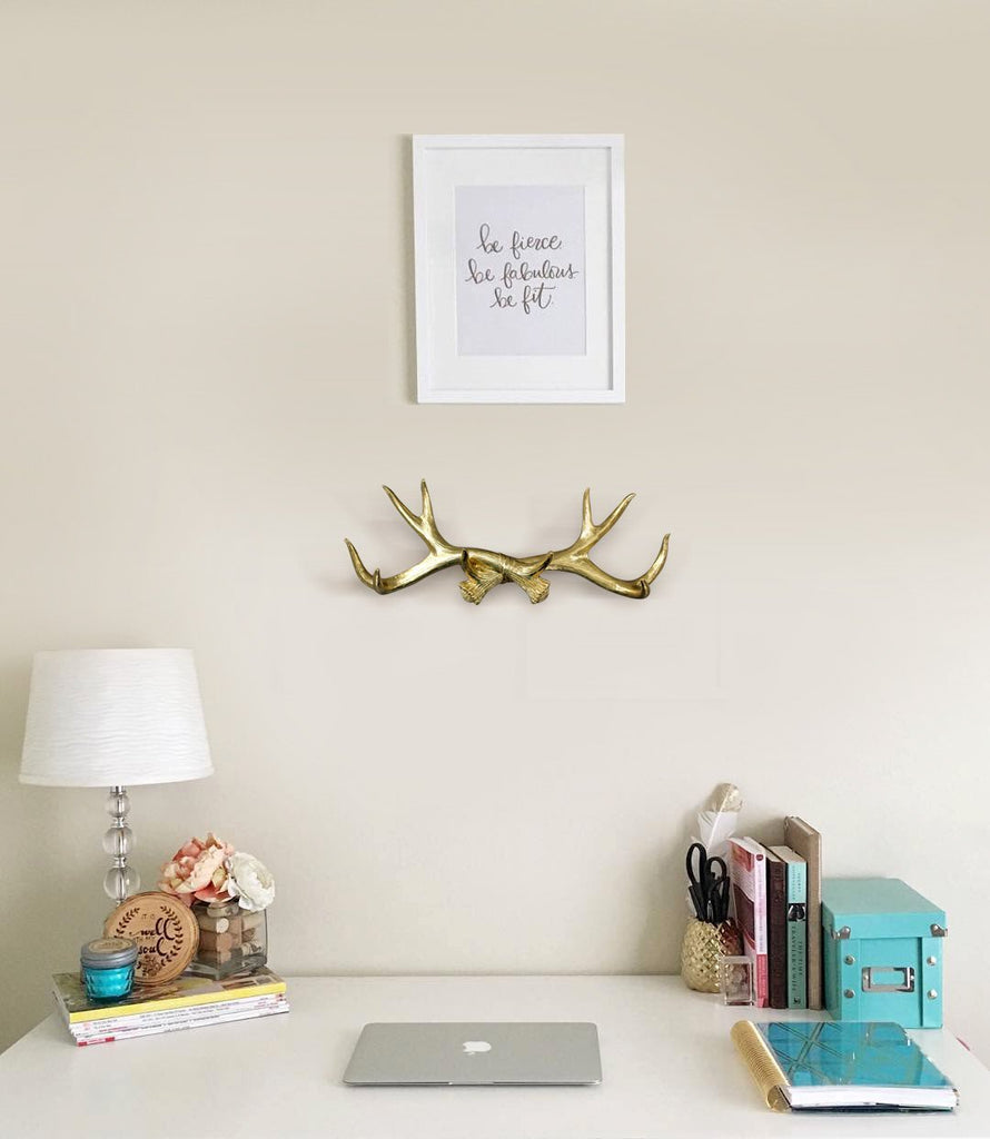 Antler Wall Rack | Deer Antler Hooks | Faux Taxidermy| Gold Resin