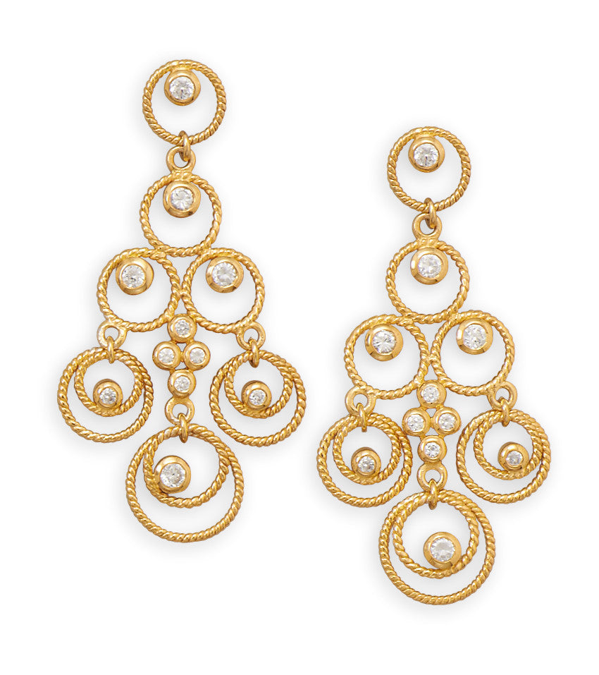 14 Karat Gold Plated CZ Chandelier Earrings Artsygemstones – Cz Chandelier Earrings