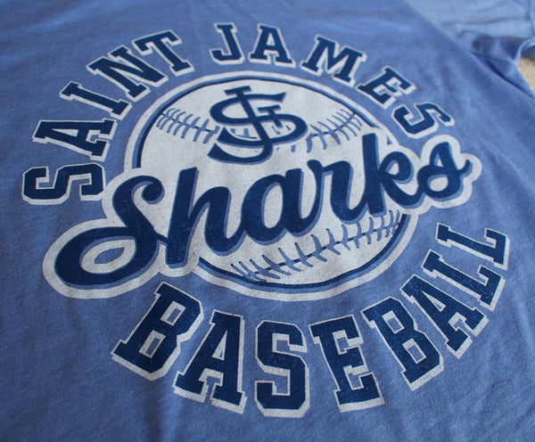 Saint James Sharks Baseball: Custom T-shirt mock-up
