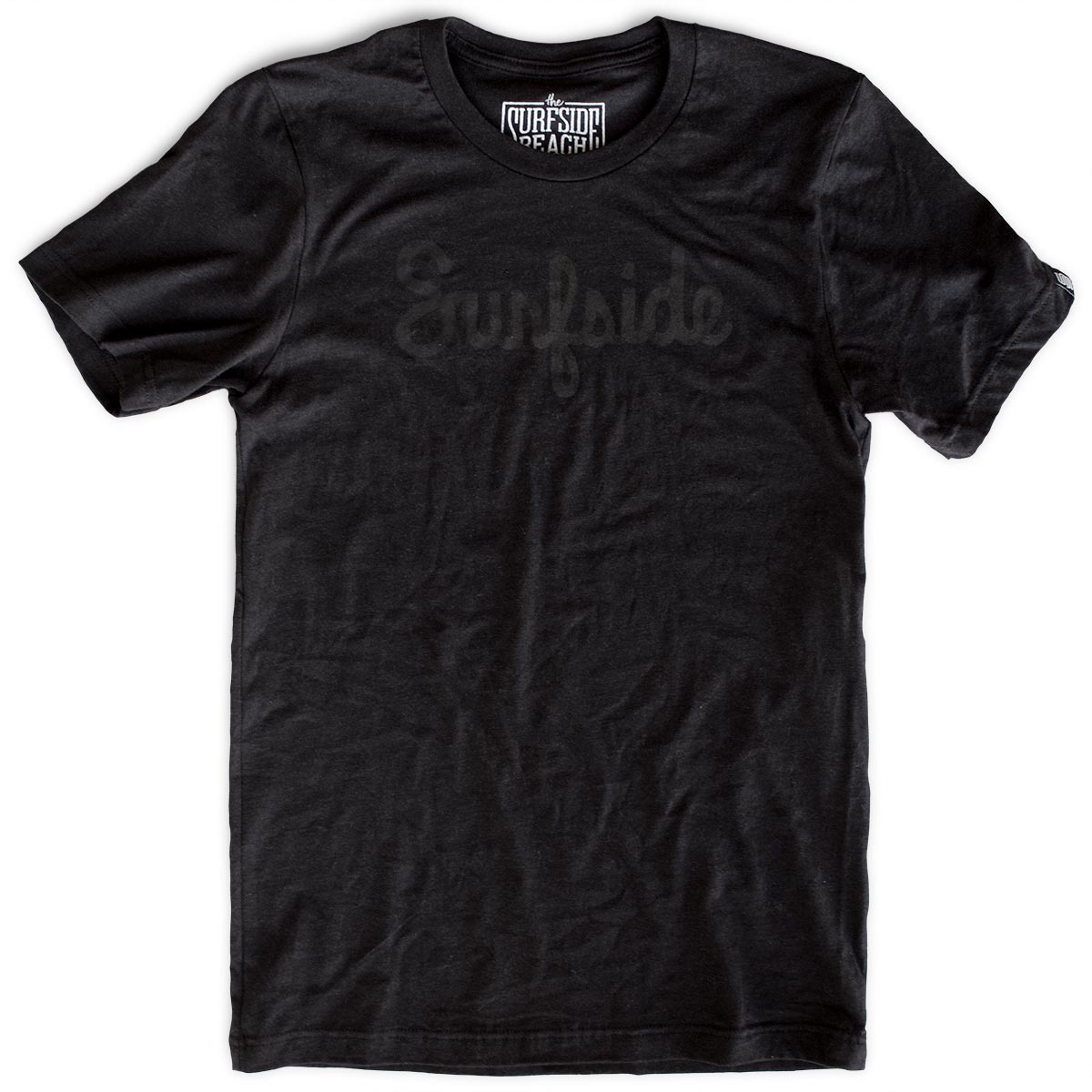 Surfside (Script) premium black-on-black T-shirt