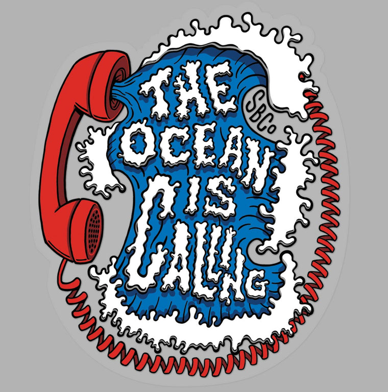 The Ocean is Calling die cut sticker yellow