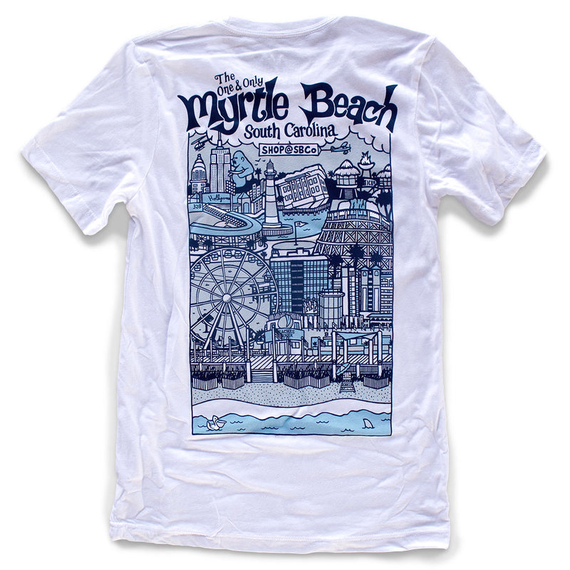 Myrtle Beach (The One & Only) premium cityscape illustrated T-Shirt back