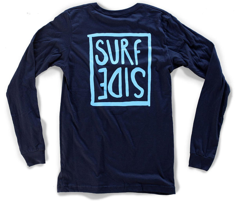 Surf Side (flipt) premium long-sleeved navy T-shirt back