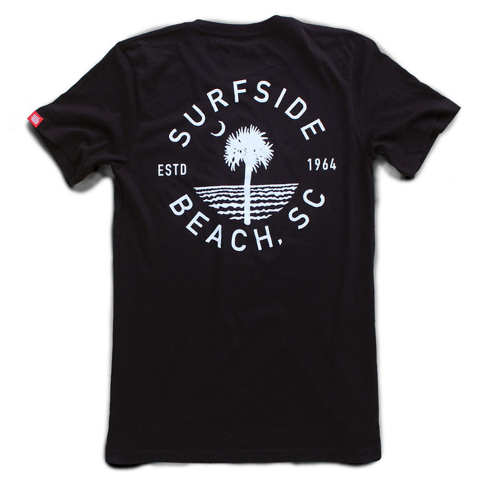 Surfside Beach, SC (Circle Tree) premium pocket T-shirt back