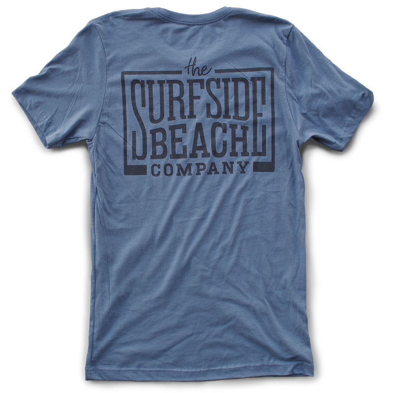 The Surfside Beach Company (logo) premium steel blue T-shirt back