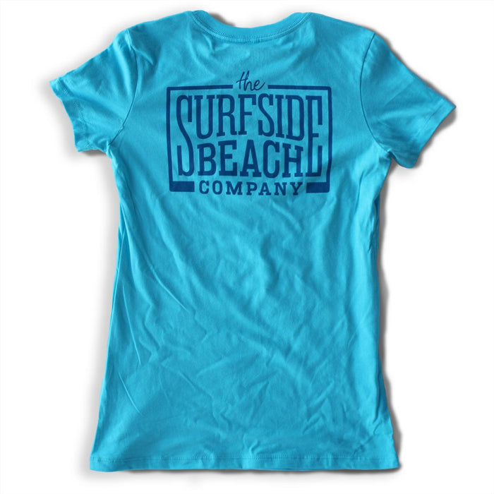The Surfside Beach Company Women's (Juniors) Logo T-Shirt (blue)