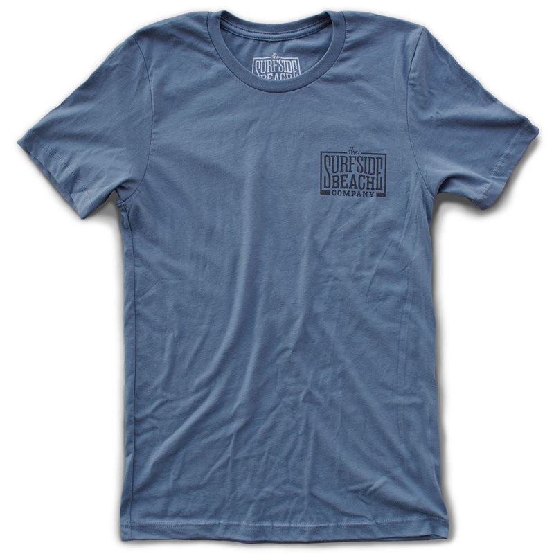 The Surfside Beach Company (logo) premium steel blue T-shirt front