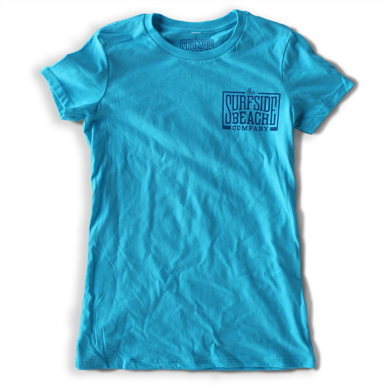The Surfside Beach Company Women's (Juniors) premium turquoise logo T-shirt front