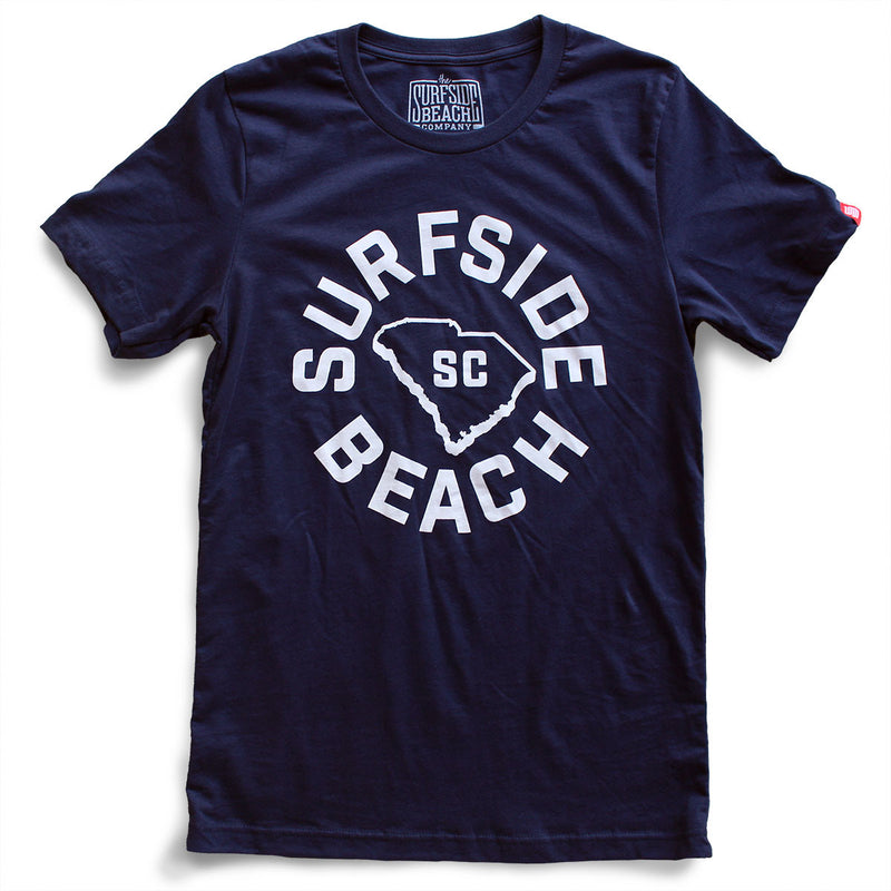 Surfside Beach, SC (Circle State) premium navy T-shirt