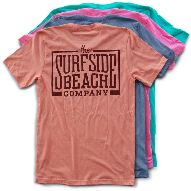 The Surfside Beach Company (logo) premium T-shirts back