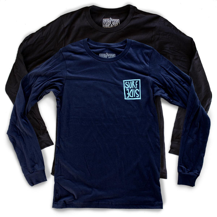 Surf Side (flipt) premium long-sleeved navy T-shirt beach back