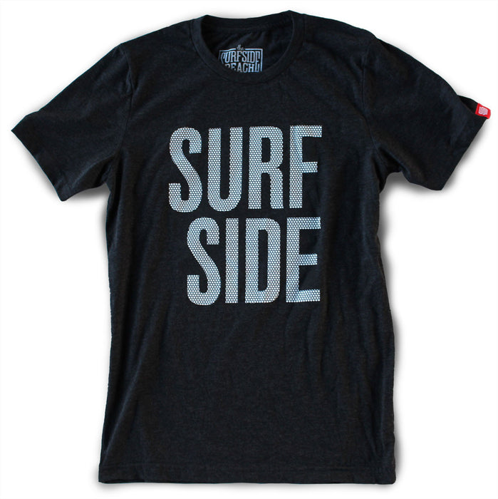 Surfside Beach (stacked dots) Unisex T-Shirt (black)