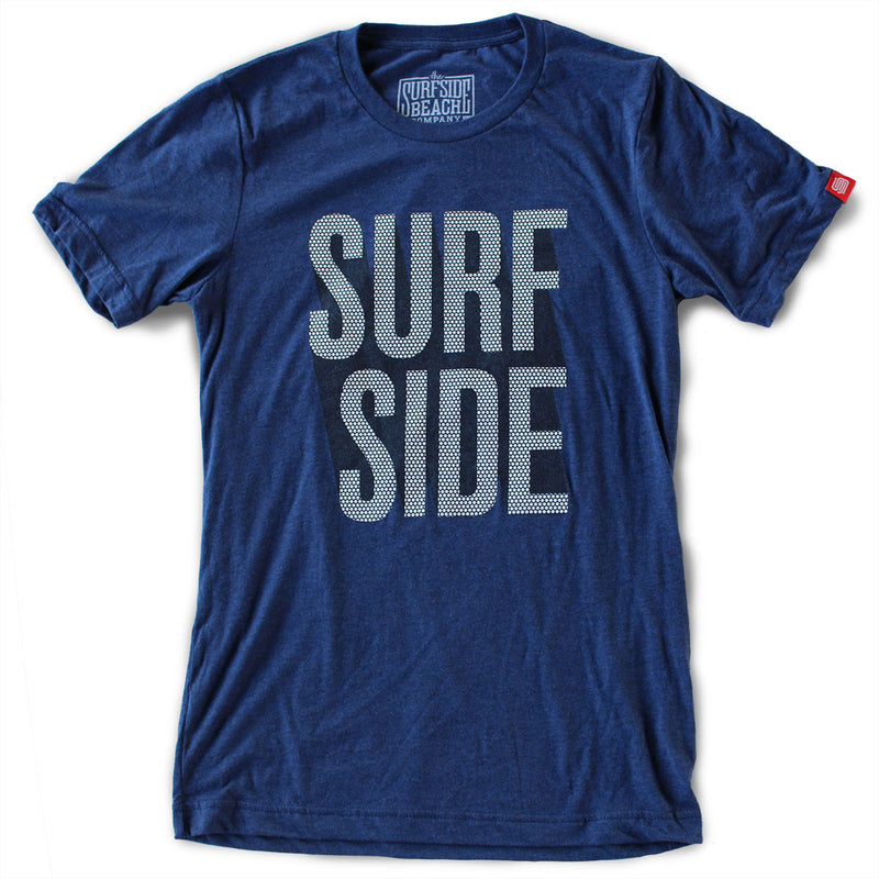 Surfside Beach (stacked dots) Unisex T-Shirt (navy)