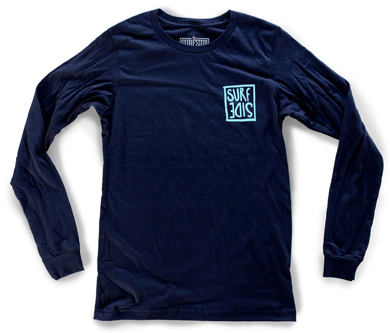 Surf Side (flipt) premium long-sleeved navy T-shirt front