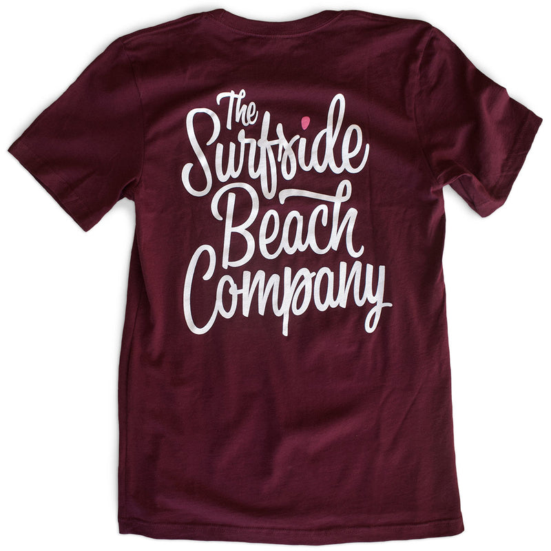 The Surfside Beach Company (Bewitched) premium maroon T-shirt back