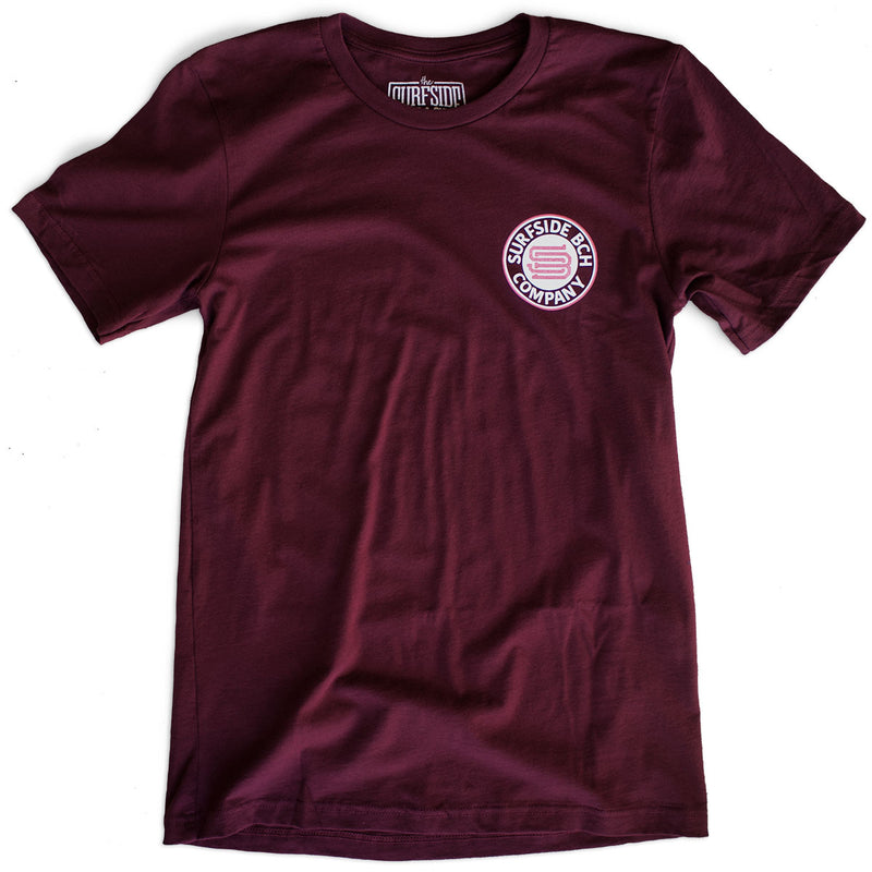 The Surfside Beach Company (Bewitched) premium maroon T-shirt front