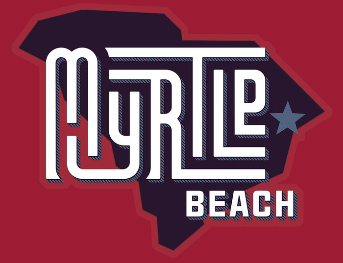 Myrtle Beach (State/Star) Glossy Vinyl Sticker red