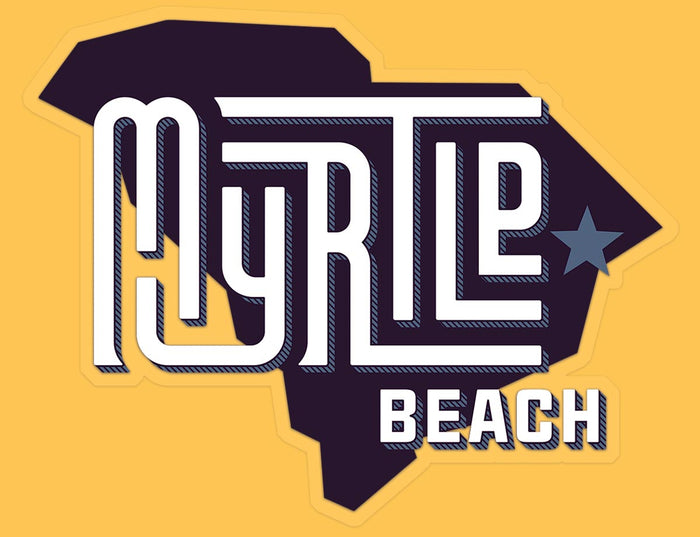 Myrtle Beach (State/Star) Glossy Vinyl Sticker yellow