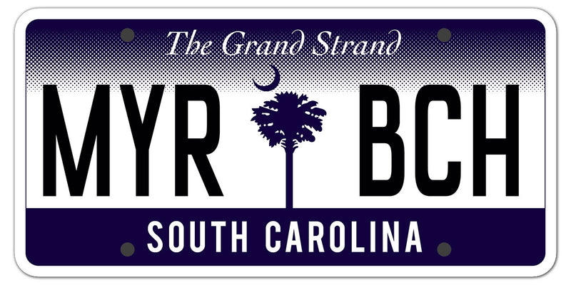 Myrtle Beach license plate die cut sticker