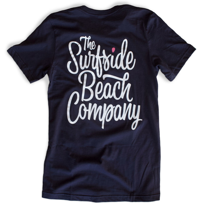 The Surfside Beach Company (Bewitched) premium navy T-shirt back