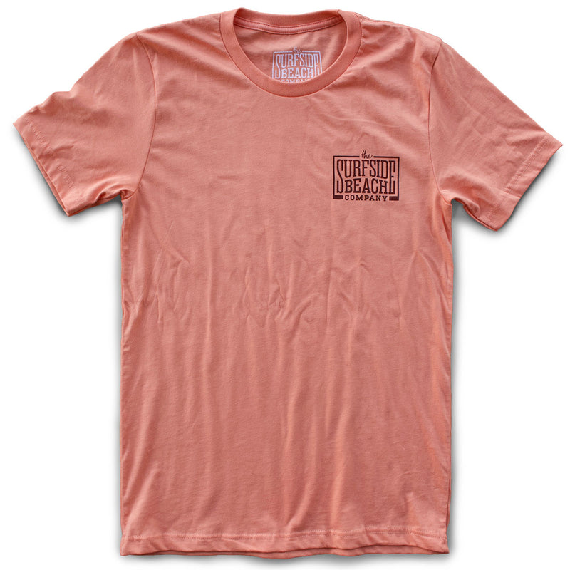 The Surfside Beach Company (logo) premium sunset T-shirt front