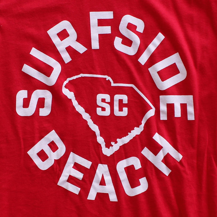 Surfside Beach, SC (Circle State) premium red T-shirt zoom