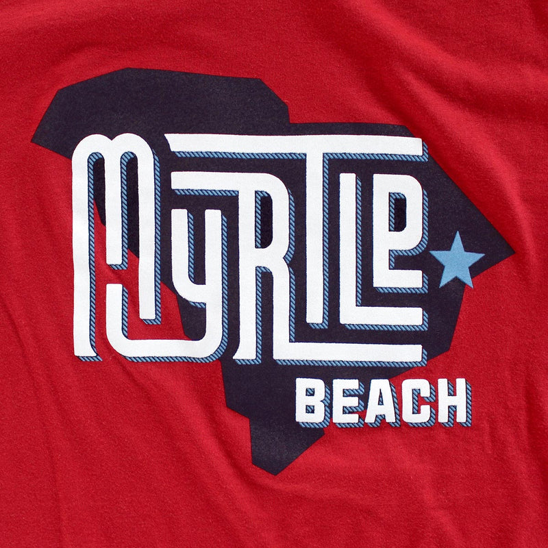 Myrtle Beach (State/Star) premium canvas red T-shirt zoom