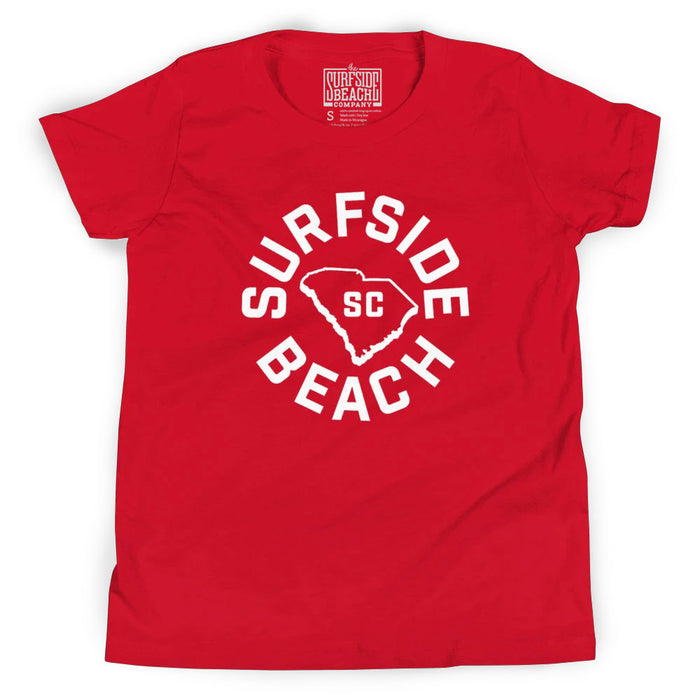 Surfside Beach, SC (Circle State) Youth T-Shirt