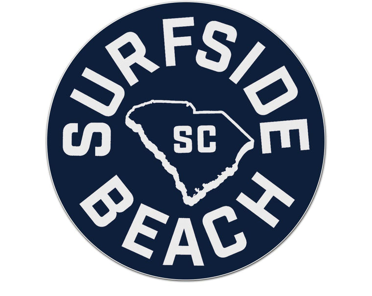 Surfside Beach, SC (Circle State) Glossy Vinyl Sticker