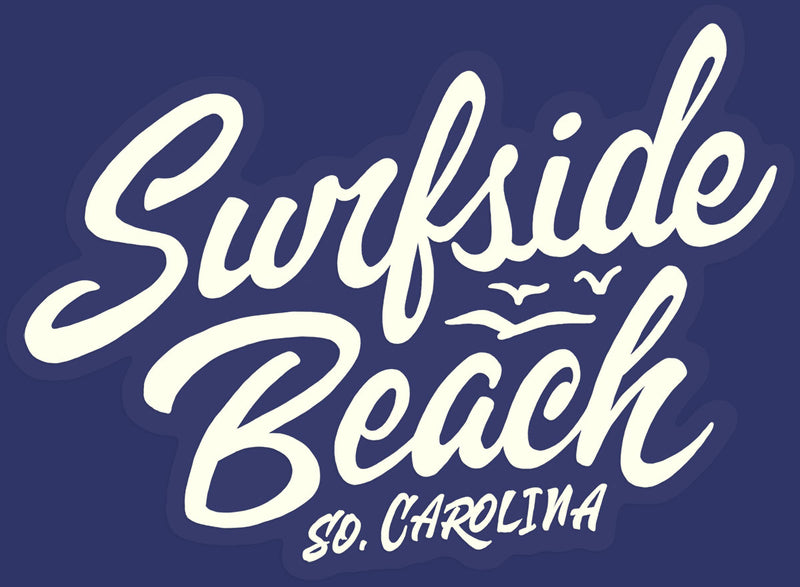 Surfside Beach, So. Carolina (Script) die cut sticker blue