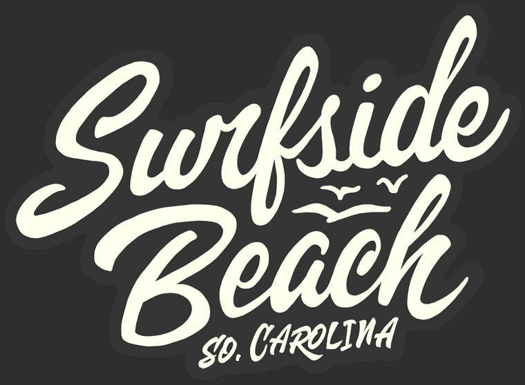 Surfside Beach, So. Carolina (Script) Glossy Vinyl Sticker